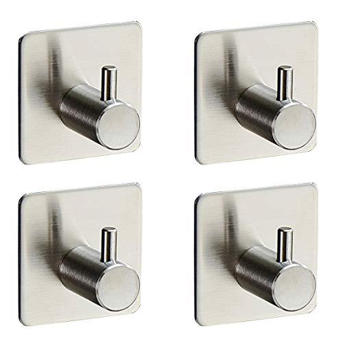 4-Pack Robe/Towel Hook Self Adhesive SUS 304 Stainless Steel Brushed Nickel Bathroom Kitchen Organizer ()