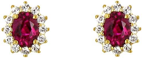 Tous mes bijoux - Boucles d'oreilles - Or jaune 18 cts - Rubis - BODM01053