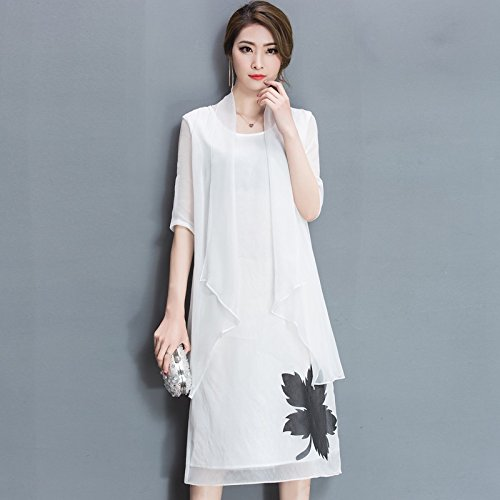 RONG Impresa De Morera De Femenino Seda XIU De Vestido Largo Seda Un white En 4pxdnqA6