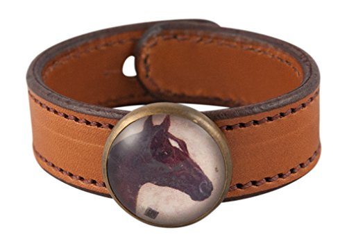 (Rebecca Ray Designs Equestrian Chestnut Horse Rosette Slide Natural Leather Cuff Bracelet (Natural-Chestnut Horse))