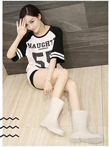 lonfenner Rain Boots,Women Rain Boots Soft Comfortable Waterproof Non-Slip Rubber Keep Warm Wear Resistant Girls Fashion Ladies White Rain Boots