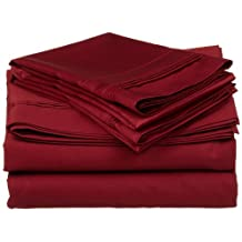 """King of Cotton Bed Sheets Set Egyptian-Cotton, Burgundy Solid 600 Thread Count 4-Piece Queen Bed Sheet Set , Sateen Solid, Fits mattresses 8"""" Inches - 15"""" Inches Deep Pocket."""