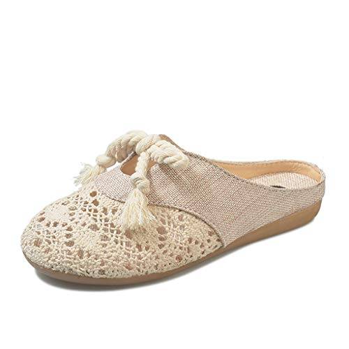 GHrcvdhw Womens Outdoor Breathable Flats Popular Linen Ethnic Style Light Single Casual Slip-On Slippers Shoes Beige ()