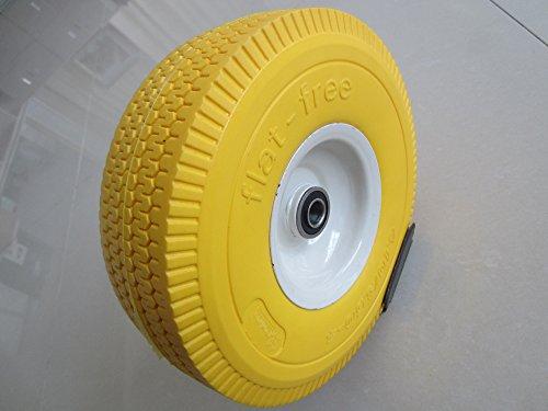 Kunhua 11-pu-y-sq-16p 4.10/3.50-4 Flat Free Hand Truck/utility Tire ,3-inch Tire width, 2.25 Offset Hub, 5/8 Ball Bearings, 10 Tire Diameter