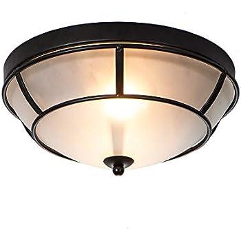 1295ce33fb8 SOTTAE 2 Lights Bronze Finish Tempered Flush Mount Ceiling Light ...