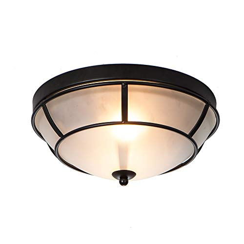 Wtape Antique Design 2-Light Black Finish Flush Mount Ceiling Light, Ceiling Fixture for Bedroom, Hallway, Kitchen, Bar (Finish Flush Mount Black)