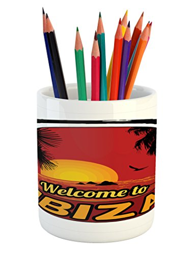 Lunarable Ibiza Pencil Pen Holder, Sundown in Balearic Islands South of Spain with Tropical Trees and Fauna, Printed Ceramic Pencil Pen Holder for Desk Office Accessory, Orange Black and Ruby by Lunarable