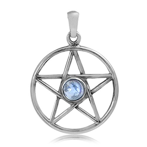 Silvershake Natural Moonstone 925 Sterling Silver Pentagram Star Pendant