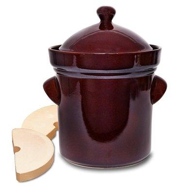 TSM - Boleslawiec 5L Polish Fermenting Crock Pot, PRESSING STONES INCLUDED (Airtight Crock)