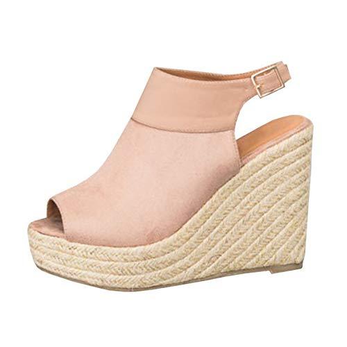 Espadrillas Moda Zeppe con Rosa Sandali Donna alla Cinturino 36 Sandali Eleganti Sandali Caviglia Estivi B Minetom Piattaforma EU Corda Donna Intrecciato wIzqAnE