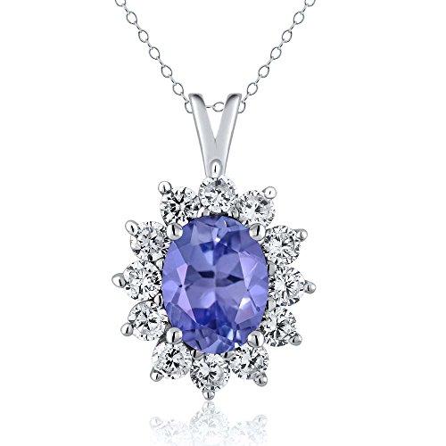 1.76 Ct Oval Blue Tanzanite 925 Sterling Silver (Oval Tanzanite Pendant)