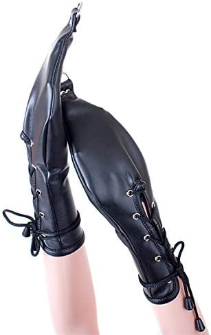 Black Leather High-Grade Multi-Purpose hangable Binding Gloves Tight Hand Buckle Toy Role Playing