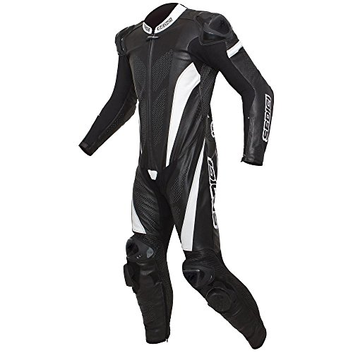 SEDICI Primo One-Piece Leather Motorcycle Suit - US 40/Euro 50, Black/White