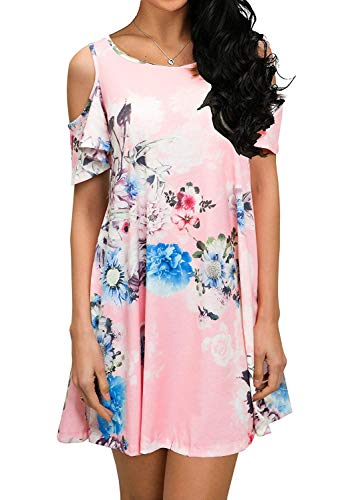 PCEAIIH Women's Summer Cold Shoulder Tunic Top Swing T-Shirt Loose Dress with Pockets Mix Pink M