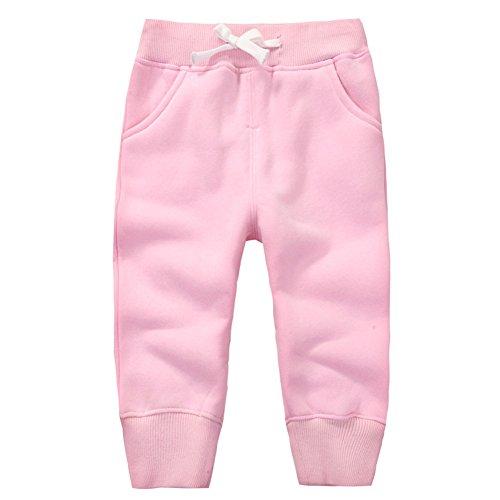 CuteOn Unisex Kids Cotton Elastic Waist Winter Baby Pants s ,Pink,4Years