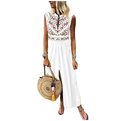 BODOAO Women's Boho Printed Sleeveless Maxi Dress V-Neck Hem Baggy Kaftan Long Dress