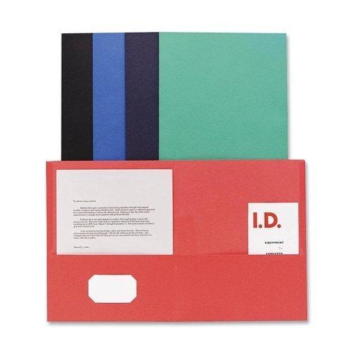 Wholesale CASE of 20 - Sparco Simulated Leather Double Pocket Folders-Double Pocket Portfolio, 125 Sheet Cap., 25/BX, Assorted