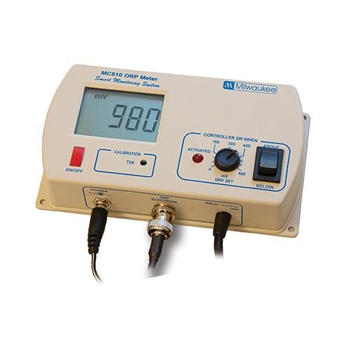 Milwaukee Instruments MC510US ORP Controller with Hi/Low Range Visual LED Alarm, Factory Calibration, 0.0 to 14.0 pH Range