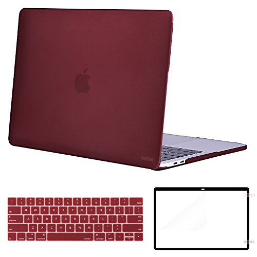 MOSISO MacBook Pro 13 Case Corner Protective Compatible Newest MacBook Pro 13 Inch 2018 2017 2016 Release A1989/A1706/A1708, Plastic Hard Shell with Keyboard Cover with Screen Protector, Marsala Red by MOSISO