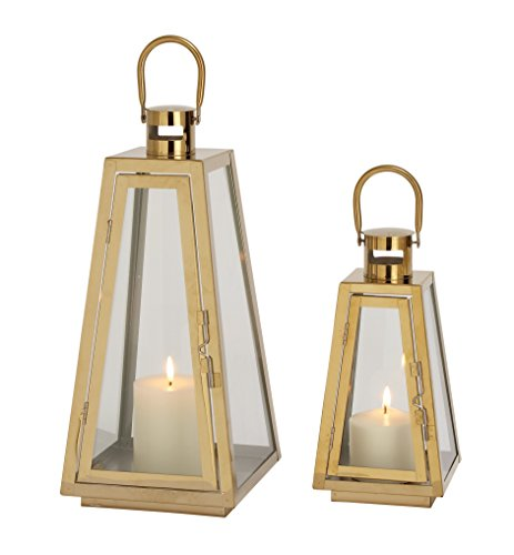 Brass 2 Candle - Set of 2 Gold Metal Candle Lanterns, 18 Inches and 13 Inches High BENZARA Stainless Steel Glass Gold Lantern S/2 13