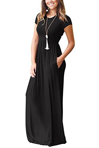 Redondo Negro De Noche Vestido Colores 01 Cóctel Camiseta Maxi Dress Lisos Primavera Flojo Bolsillo Mujeres Manga Fiesta Elegante Larga Minetom Cuello gxX4wRqW1