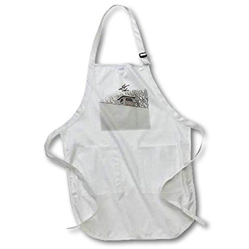3dRose TDSwhite - Winter Seasonal Nature Photos - Winter Weathervane Snow Covered Roof - Full Length Apron with Pockets 22w x 30l (apr_285054_1)
