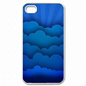 Cool iPhone 4 White Case,Blue Clouds Customized Hard Back Case for iphone 4 iPhone 4s £¨White 102227£©