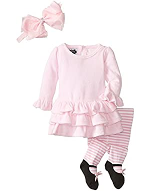 Baby-Girls Newborn Velour Dress with Tights and Headband