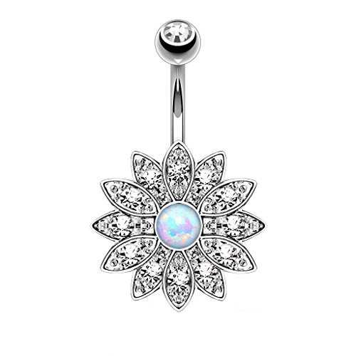 Opal Belly Button Ring Crystal Jeweled Flower Navel Barbell Body Piercing Jewelry Silver