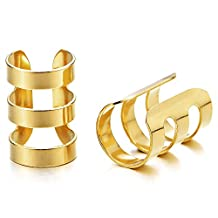 2pcs Mens Womens Gold Color Stainless Steel Ear Cuff Ear Clip Non-Piercing Clip On Earring