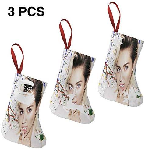 クリスマスの日の靴下 (ソックス3個)クリスマスデコレーションソックス Miley Cyrus クリスマス、ハロウィン 家庭用、ショッピングモール用、お祝いの雰囲気を加える 人気を高める、販売、プロモーション、年次式