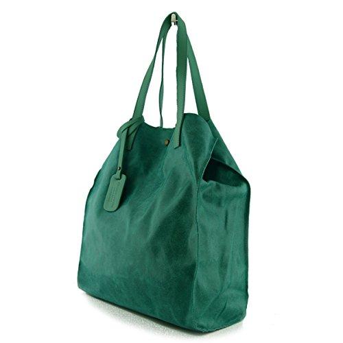 Sac Shopper En Cuir Véritable Avec Pochette Intérieure Couleur Turquoise - Maroquinerie Fait En Italie - Sac Femme