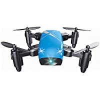 Lilys Gift Mini Foldable RC Drone Quadcopter Pocket Remote Control Helicopter Drone Blue