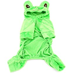 SMALLLEE_LUCKY_STORE XY000046-S Small Dog Velvet Frog Costume for Girls/Boys, Green, Small