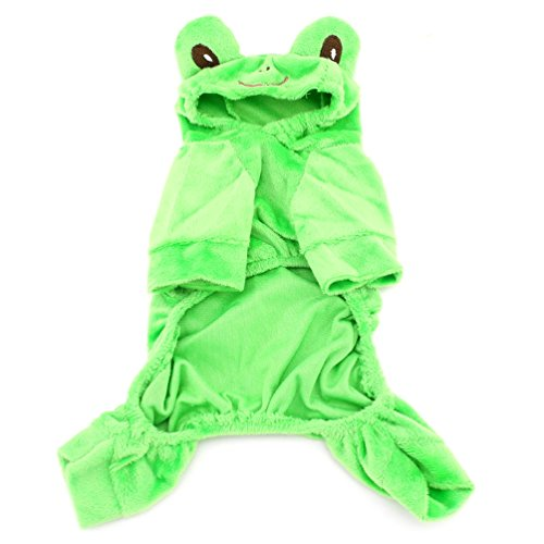 Cat Kong Frog - SMALLLEE_LUCKY_STORE XY000046-XL Small Dog Velvet Frog Costume for Girls/Boys, Green, X-Large