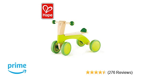 Hape Scoot Around Ride On Wood Bike Award Winning Four Wheeled Wooden Push Balance Bike Toy For Toddlers With Rubberized Wheels Bright Green