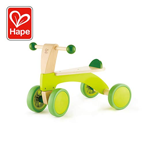- Hape Scoot Around Ride On Wood Bike | Award Winning Four Wheeled Wooden Push Balance Bike Toy for Toddlers with Rubberized Wheels, Bright Green