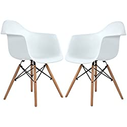 Modern Eames Style Side Dining Armchair Plastic Lounge Chairs with Wood Legs for Dining Room Kitchen Bedroom,Set of 2 White