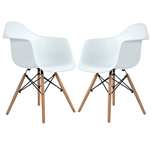 Modern Eames Style Side Dining Armchair Plastic Lounge Chairs with Wood Legs for Dining Room Kitchen Living Room,Set of 2 White