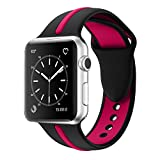 Apple Watch Band, Solomo [Sport Series] Fashion iWatch Strap Soft Durable Silicone Replacement Stripe Color Splicing Style with Women / Men Wristband for Apple Watch Nike+, Series 3 / 2 / 1 (38MM Rose)