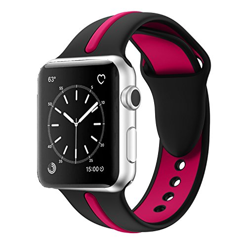 Apple Watch Band, Solomo [Sport Series] Fashion iWatch Strap Soft Durable Silicone Replacement Stripe Color Splicing Style with Women / Men Wristband for Apple Watch Nike+, Series 3 /2 / 1 (42MM Rose) -  YuanHeng Digital Technology Co.,Ltd, AWBSSAO42RE