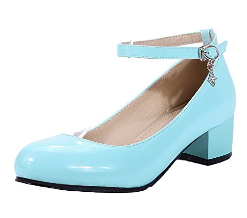 Court Patent Shoes Women's Low VogueZone009 Leather Solid Round Toe Buckle Blue Heels Szxnqq7vEw