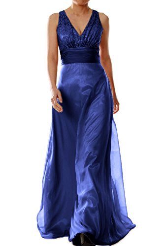 MACloth Women V Neck Chiffon Lace Long Bridesmaid Dress Wedding Party Formal Gown Azul Marino Oscuro