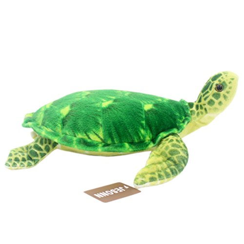 Jesonn Realistic Soft Plush Baby Pillow Stuffed Marine Animals Toy Turtle for Kids' Gifts,Green,12.6
