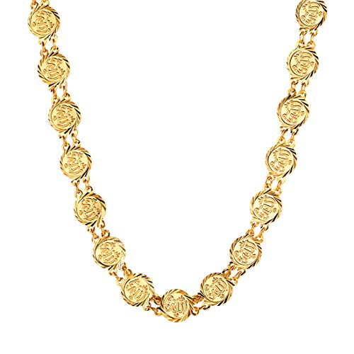 U7 Allah Necklace for Women 18K Gold Plated Coin Charm Choker Collar Necklace (Turkish Coin Necklace)