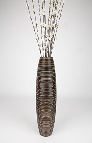 Thai Handmade Tall Floor Vase , Wood, Brown, 8''L x 8''W x 30''H. by WADSUWAN SHOP