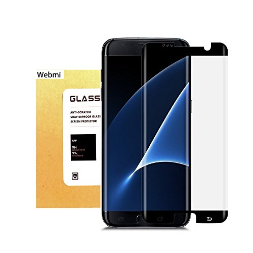 For Galaxy S7 Edge Tempered Glass Screen Protector,Webmi 9H Slim Anti-Fingerprint Oil Stain Scratch Coating Bubble Free Easy Install HD Clear Screen Protector for Samsung Galaxy S7 EDGE Black