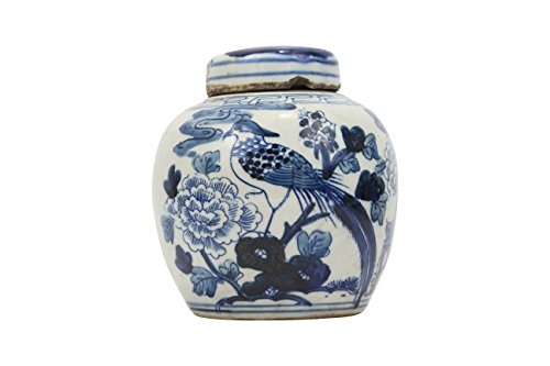 Blue and White Porcelain Chinese Bird Motif Ginger (Chinese Ginger Jar)