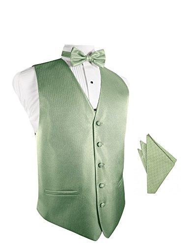 Mint Herringbone Tuxedo Vest with Bowtie & Pocket Square Set ()