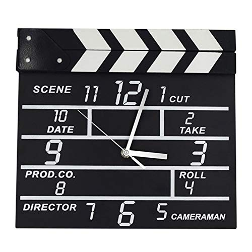 Creative Wall Clock Film Clapper Board Clock Movie Slate Analog for Home Bedroom Decoration Handcrafted Gift
